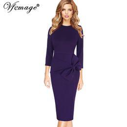 Wholesale Vintage Sheath Dress Xs - Vfemage Womens Celebrity Elegant Vintage 3 4 Sleeves Work Business Party Evening Formal Bodycon Midi Mid-Calf Sheath Dress 7915