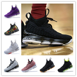 Wholesale Ghost Yellow - (With Box) Black Gum 15 Mesh surface XV PE 15S Men women Of White Ghost Ashes Basketball Shoes Red training Sneakers 40-46
