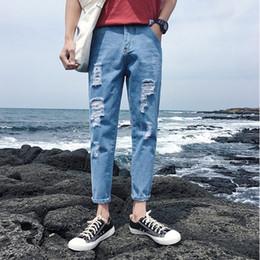 d786a7d0e1 Teenage Jeans Fashion Harem Pants Trousers Hole Pantalones hasta la tobillo para  hombres Mid Low Waist Casual Denim Cotton Polyester Jeans