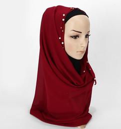 Bufanda de perlas musulmanes online-Musulmán Hijab bufandas mujeres nueva llana bufanda Pearl alta calidad gasa bufanda Hijabs venta al por mayor envío de la gota