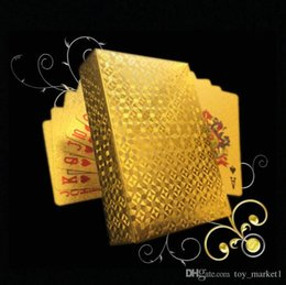 gold foil playing cards 2018 - 54pcs Original Waterproof Luxury Gold Foil Plated Poker Premium Matte Plastic Board Games Playing Cards For Gift Collection