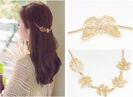 Wholesale Gold Leaf Headbands - Hair Combs Metal Tassel Chain Ladies Headband girlls Jewelry Hair Accessories Clip Bridal Leaf Gold-Color Headwear Bijoux SEN312