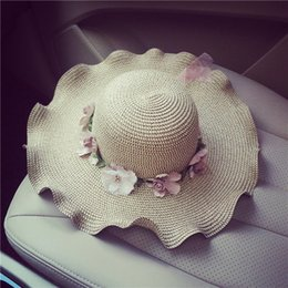 Causey Sun Hat uv protection Fashion Designer 2018 Summer Women Wide Large  Brim Floppy Beach Straw Panama Hat with Flower gorras 27d7463b034f