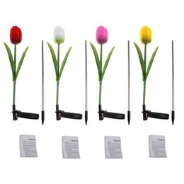 Wholesale Solar Tulip Led Light - 1 Set Solar Power Tulip Flower Garden Stake Landscape Lamp Outdoor Yard LED Light Pink Red Yellow White Color