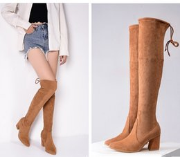 Wholesale Cm Boots - Yxin01 Suede 7 CM Chunky High Heel Over The Knee 60 CM Thigh-high Boots Nubuck Sheepskin Suede Genuine Leather Women Shoes, Sz 35-39