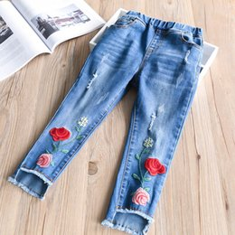 Wholesale Childrens Harem Pants - Fashion Girls Jeans Kids Pants Children Jeans Denim Trouser Girl Clothes Embroidered Flower Kid Ripped Childrens Pants Child Clothing A8406