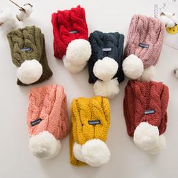 Thick knitted wool scarves on-line-Crianças Inverno Cachecol Quente Moda Grossa Malha Cachecol Quente Super Macio cor sólida Cachecóis Do Bebê com Tricô De Lã Bola Cachecóis