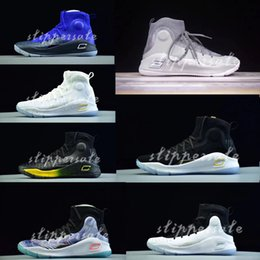 Wholesale Men Printed Shoes - 2018 Stephen Curry 4 mens basketball sneakers Gold Championship MVP Sports training shoes Fashion outdoor casual shoes With box