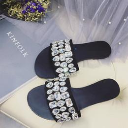 Wholesale Wholesale Gladiator Heels - fashion flat crystal sandals rhinestone bling slippers shiny slingback slippers soft sole slip resistant sandals slips casual shoes