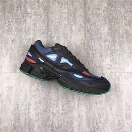 Wholesale Marines Sports - RAF Simons Consortium Ozweego 2 Running Shoes Sneakers With R Logo for Men 2018 Release Night Marine Sports Joint Limited Shoes Size 11