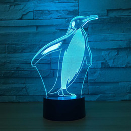 Wholesale touch lamps for bedside table - 3D Illusion Lamp Colorful Penguin Night Light Bedside Table Lampen Remote Touch Switch USB LED Lampe bulbing Lamp For Kid Gift