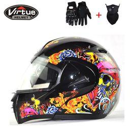 Wholesale dual visor helmets - Casques de moto Dual Visor Modular Flip Up helmet motorcycle helmet racing Motorcross DOT approved