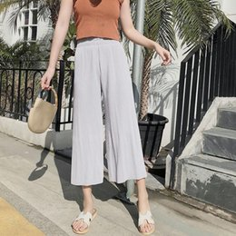 f2a39e448ece Wide Leg Pants Pleated Stretchy Chiffon Legs Summer High Waist Loose Long  Fashion Sexy Pant
