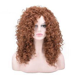 Productos para el cabello de las mujeres negras online-ZF: pelucas afro para las mujeres negras, 20 pulgadas, color marrón, moda, productos para el cabello rizado para mujeres