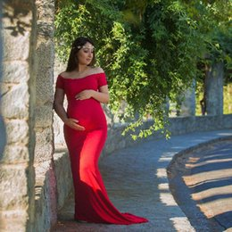 6f5a14bf46398 pregnancy props for photography Promo Codes - Maternity Photography Props  Dresses For Pregnant Women Shoulderless Tailed