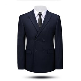 Wholesale Men S Tailored Black Suits - Tailor made men suits jacket double breasted groom wedding dress jacket solid color formal business suits