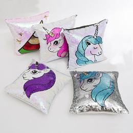 Sirena de lentejuelas sofá funda de almohada de dibujos animados unicornio funda de almohada sofá hogar coche decorativa de navidad funda de cojín sin núcleo 40 * 40 cm WX9-861 desde fabricantes