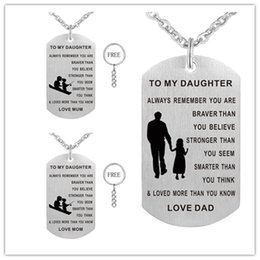 Wholesale Circle Gift Tags - Dad Mom To My Daughter Dog Tag Necklace - Never Forget I Love You - Personalized Custom Dog Tags Pendant 1pc free key ring