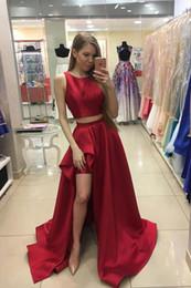 530b4174438a Rosso due pezzi semplice da ballo prom Dresses 2019 alto basso gioiello  collo increspato fessura raso economici abiti da cerimonia pageant  economici nuovo ...