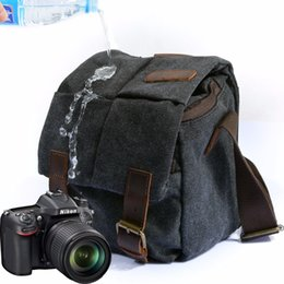 Wholesale Counter Bags - Men Shoulder Bags Canvas Leather MultiFunction Male Satchel Crossbody Waterproof Micro Single Counter Moisture-proof Camera Bag