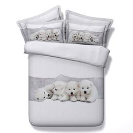 Super king edredones online-3D ropa de cama adorable juegos de fundas nórdicas para perros cachorros colchas edredón blanco ropa de cama edredón cubre fundas de cama de plata para niños
