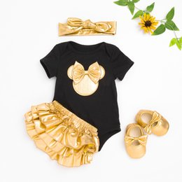 Wholesale newborn bloomer set - 2018 Baby Girl Clothes 4pcs Clothing Sets Black Cotton Rompers Golden Ruffle Bloomers Shorts Shoes Headband Newborn Clothes