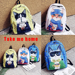 Wholesale Travel Bags For Cats - Cartoon cat Backpack fashion waterproof large capacity Laptop School Bag Backpack for Teenagers Travel Mochila Laptop Backpack 171223009