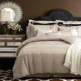 Wholesale Royal Duvet - Wholesale-4 6Pcs Imitate Silk Cotton Pleated Luxury Royal Bedding set King Queen Size Wedding Bed set Duvet cover Bedlinen Pillowcase
