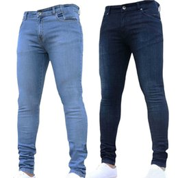 7c40f404e0a Elastic Cotton Men Casual Stretch Solid Color Simple Skinny Jeans Fashion  Europe America Joggers Tight denim trousers Plus Size