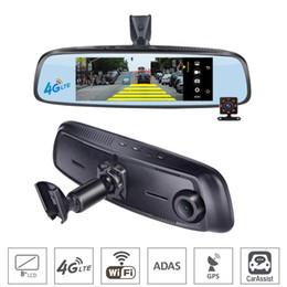 "Espejos de cámara gps online-7.84 ""4G Touch IPS Car DVR cámara inteligente Android RearView espejo con soporte especial GPS Bluetooth WIFI ADAS Auto Assist Dual Lens Dash Cam"
