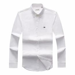 Envío de la gota para la ropa online-Envío de la gota 2018 19 Otoño manga larga de los hombres Slim Fit Camisas Hombres Marca POLO Camisas Moda 100% Oxford Camisa Casual Caballo pequeño