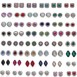 Wholesale cubed squared - Mixed styles NOOSA Chunks 12mm Crystal Snap Button Jewelry Square Cube Triangle Rhinestone Snap Button DIY Chunks Bracelet Ring Party Gift