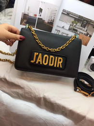 Wholesale free shipping fashion jewellery - Wholesale-J Flap Bag with Chain in Calfskin Leather Carried in Hand Aged Gold-Tone Metal Jewellery come with dust bag+box Free Shipping