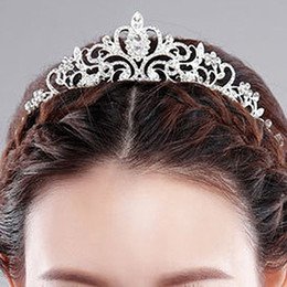 2019 pin corona tiara Wedding Bride Crown Headwear Shiny Strass Tiaras Head Pin Hair Ornamen Jewelry Accessori Forcine per le donne Regalo di Natale sconti pin corona tiara