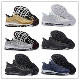 Wholesale Silver Flats Shoes - 2018 97 OG Tripel White Metallic Gold Silver Bullet WHITE 3M Premium Running Shoes Men Women Maxes Sport Shoes Sneakers With Box