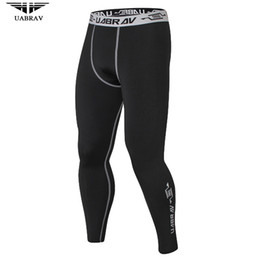 Wholesale Hot Running Pants - 2018 UABRAV Men Warmer Sport Pants Hot Fitness And Crossfit Skinny Pants Black Running Pants Jogger Sportswear Compression Sweatpants