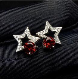 prata livre jewerly Desconto Estilo estrela Garnet brinco frete grátis Natural Garnet 925 prata fina gemas jewerly