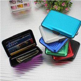 Wholesale pvc id cards - Aluminum Alloy Business ID Credit Card Holder Wallet Waterproof Anti-magnetic RFID Card Bags Purse Chirstmas Gifts CCA8359 100pcs
