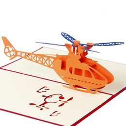 Felices tarjetas de pascua online-3D Pop Up Greeting Cards Helicopter Feliz cumpleaños Christmas Anniversary Easter Nuevo Drop ship