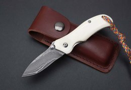 Wholesale Hunt Animals - Damascus ZT bone folding knife Animal bones handle pocket EDC tool collection gift Outdoor Gear Leather packaging