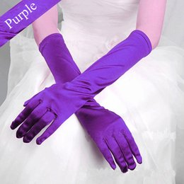 Wholesale Elbow Length Black Gloves - ZYLLGF Cheap Bridal Gloves Elbow Length Wedding Gloves Finger Satin Gloves For Women Wedding Accessories In Stock