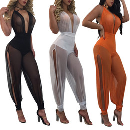 Wholesale Mesh Cuff - Women Mesh Jumpsuit Party Sexy V-neck Embellished Cuffs Mesh Sleeveless Loose Club Pants Casual Jumpsuit 3 Colors LJJO4428