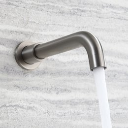 Wholesale Tub Mixer Spout - Wall Mounted Shower Spout Faucets Bath Tub Shower Mixer Faucet Spout 304 Stainless Steel Bathroom Brushed Tap Bathtub