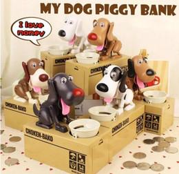 Wholesale Cute Money Boxes - Cute Choken Greedy Dog Model Piggy Bank Money Save Pot Coin Creative Storage Catoon Puppy Hungry Robotic Dog Money Box 300Pcs