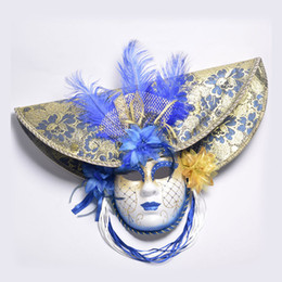 Wholesale Venetian Full Face Masks - Elegant Red Blue Pink Feather Hat Full Face Venetian Mask Halloween Masquerade Party Masks Italy Lady Mask Party Favor DEC204