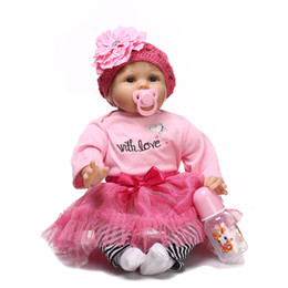 Wholesale Pink Doll Clothing - Toys Dolls Rebirth Simulation Baby Girl Doll Cartoon Anime Soft Silicone Soft Clothing Hat Flower Pink