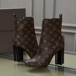 talons hauts dames fashions chaussures marron impression cheville Bottes imperméables en cuir véritable Couleur pure ? partir de fabricateur