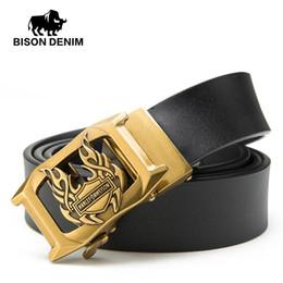 aabfd7521f8 BISON DENIM Vintage Cinturones de Hombre Cinturones de Cuero Genuino Ahueca  Hacia Fuera el Diseñador Automático Hebilla Cinturón de Cowskin Para Hombres  ...