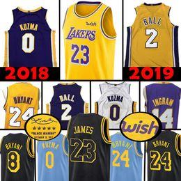 00dbea4ec Los Angeles Lakers von hoher Qualität 23 LeBron James 2 Lonzo Ball 0 Kyle  Kuzma Jersey 14 Brandon Ingram 8 24 Kobe Bryant Basketball-Trikots 2019