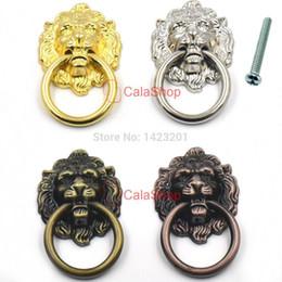 schrank ring ziehen Rabatt 10 Teile / los 40mm x 67mm Vintage Löwenkopf Tür Möbel Schrank Kommode Schublade Ziehen Griff Knopf Ring